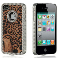 *CLEARANCE* Exotic Diamond Chrome Case and Screen Protector for iPhone 4 / 4S - Leopard