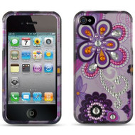 *SALE* Graphic Rhinestone Case and Screen Protector for iPhone 4 / 4S - Purple Violet
