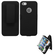 Armor Shell Case with Holster and Screen Protector for iPhone SE / 5S / 5 - Black