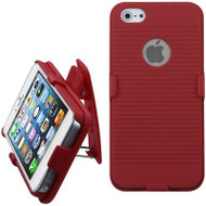*SALE* Armor Shell Case with Holster and Screen Protector for iPhone SE / 5S / 5 - Red