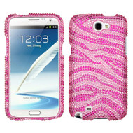 Diamante Rhinestone Case for Samsung Galaxy Note II - Zebra Pink