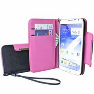 Designer Leather Wallet Shell Case for Samsung Galaxy Note II - Hot Pink