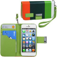 *DAILY DEAL* MyWallet Leather Wristlet Kickstand Case and Screen Protector for iPhone SE / 5S / 5 - Green Orange