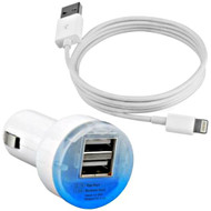 Eco Dual USB Car Charger + Lightning Sync Charging Cable - White