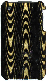 Velvet Series Glitter Back Cover for iPhone 3G / 3GS - Electro Wave Gold