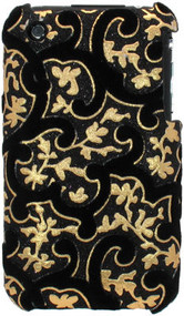 Velvet Series Glitter Back Cover for iPhone 3G / 3GS (Floral/Black)