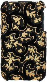 Velvet Series Glitter Back Cover for iPhone 3G / 3GS (Floral/Black)