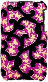 Velvet Series Glitter Back Cover for iPhone 3G / 3GS (Floral/Pink)