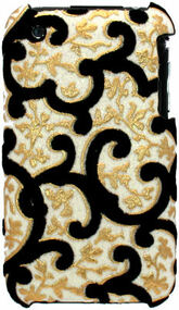Velvet Series Glitter Back Cover for iPhone 3G / 3GS (Floral/White)