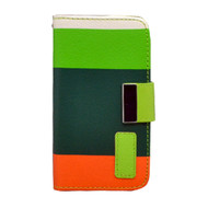 *DAILY DEAL* MyWallet Leather Kickstand Case and Screen Protector for iPhone 4 / 4S - Green Orange