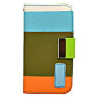 *DAILY DEAL* MyWallet Leather Kickstand Case and Screen Protector for iPhone 4 / 4S - Blue Olive Orange