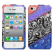 Graphic Rhinestone Case and Screen Protector for iPhone 4 / 4S - Jean Lace Rainbow
