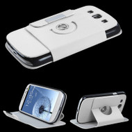 Leather Rotary FlipStand Hybrid Case for Samsung Galaxy S3 - White