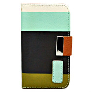 *DAILY DEAL* MyWallet Leather Kickstand Case and Screen Protector for iPhone 4 / 4S - Blue Black Olive