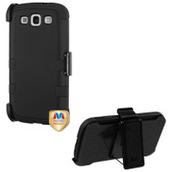 Military Grade Certified TUFF Hybrid Case and Holster for Samsung Galaxy S3 - Black
