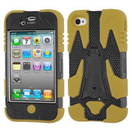 Cyborg Armor Stand Protector Cover and Screen Protector for iPhone 4 / 4S - Black Tan