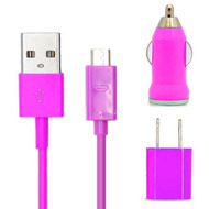 *SALE* 3-IN-1 Micro-USB Power Adapter Kit - USB Cable / AC / Car Charger - Hot Pink