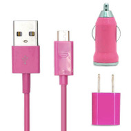 *SALE* 3-IN-1 Micro-USB Power Adapter Kit - USB Cable / AC / Car Charger - Pink