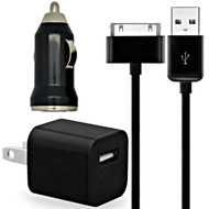 3-IN-1 Power Adapter Kit - USB Cable / AC / Car Charger - Black