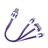 *SALE* Mybat 3-IN-1 Noodle Lightning, Dock, Micro USB Connector Charging & Sync Cable Adapter - Purple