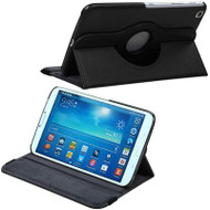 *DAILY DEAL* Rotary Leather Hybrid Case for Samsung Galaxy Tab 3 8.0 - Black