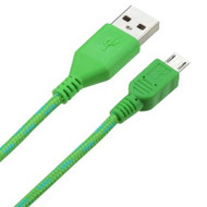 6 Ft. Woven Wrapped Micro USB Data Sync and Charging Cable - Green