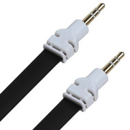 3.5mm Flat Auxiliary Audio Flat Cable - 6 Ft. Black