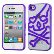 HybridFlex Fusion Case and Screen Protector for iPhone 4 / 4S - Skull Purple