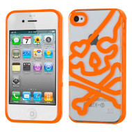 HybridFlex Fusion Case and Screen Protector for iPhone 4 / 4S - Skull Orange