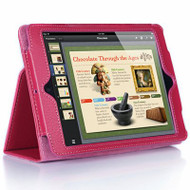 *SALE* Leather Portfolio Smart Case for iPad Air - Hot Pink