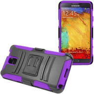 *SALE* Advanced Armor Hybrid Kickstand Case with Holster for Samsung Galaxy Note 3 - Black Purple