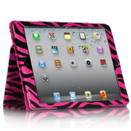 Leather Portfolio Smart Case for iPad (2017) / iPad Air - Velvet Zebra Hot Pink