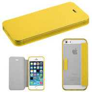 Gummy Leather Book-Style Hybrid Case for iPhone SE / 5S / 5 - Yellow