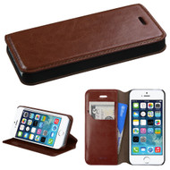 *SALE* Book-Style Leather Folio Case for iPhone SE / 5S / 5 - Brown