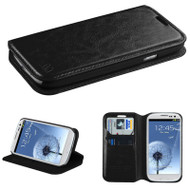 Book-Style Leather Folio Case for Samsung Galaxy S3 - Black