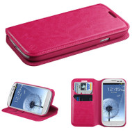 *SALE* Book-Style Leather Folio Case for Samsung Galaxy S3 - Hot Pink