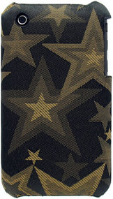Fabric Hard Shell Back Cover for Apple iPhone 3G / iPhone 3G S (Stars/Gold)