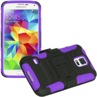Advanced Armor Hybrid Kickstand Case with Holster for Samsung Galaxy S5 - Black Purple