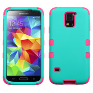 Military Grade Certified TUFF Hybrid Case for Samsung Galaxy S5 - Teal Hot Pink