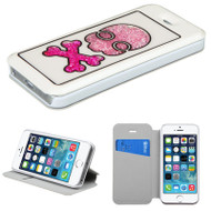 Floating Diamond Leather Wallet Case for iPhone SE / 5S / 5 - White Skull