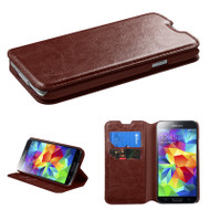 Book-Style Leather Folio Case for Samsung Galaxy S5 - Brown