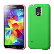 Dual Layer Hybrid Case for Samsung Galaxy S5 - Green Pink