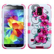 Military Grade Certified TUFF Image Hybrid Case for Samsung Galaxy S5 - Morning Petunias