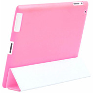 Rubberized TPU Protective Case - Works with Apple Smart Cover for iPad 2, iPad 3 and iPad 4th Generation - Hot Pink