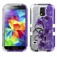 Military Grade Certified TUFF Image Hybrid Case for Samsung Galaxy S5 - Twilight Petunias