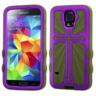 Cross Hybrid Case for Samsung Galaxy S5 - Purple Green