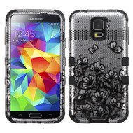 Military Grade Certified TUFF Image Hybrid Case for Samsung Galaxy S5 - Lace Flowers Black