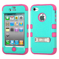 Military Grade Certified TUFF Hybrid Kickstand Case for iPhone 4 / 4S - Teal Hot Pink