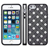 Woven Pattern Co-Molded Hybrid Case for iPhone SE / 5S / 5 - Black