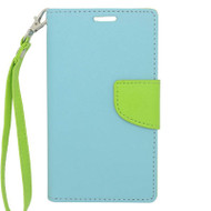 *$1 SALE* Leather Wallet Shell Case for LG Optimus L90 - Baby Blue